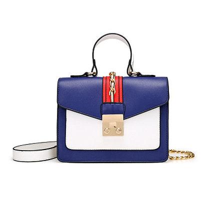 Fashion Wild Lock Faux Leather Messenger Cross-body Mini Women Handbag - Blue