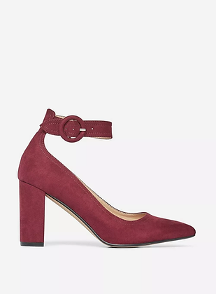 Dorothy Perkins Divine Ankle Strap Block Heeled Court Shoes- Wine