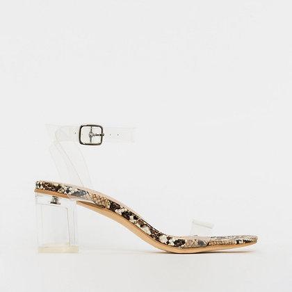 Simmi London Koko Snake Skin Transparent Block Heel Sandals in Nude