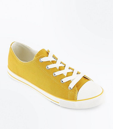 New Look Fashion Canvas Yellow Lace Up Women Sneakers