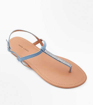 Fashion Ankle Strap Diamante Flat Women's Sandals
