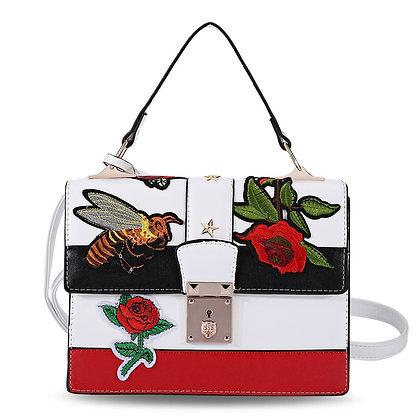 Embroidered Leather Messenger Mini Fashion White Women Handbag