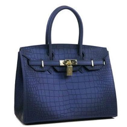 Beachkins Waterproof Crocodile Top handle Big Ladies Handbag in Navy Blue