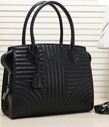 Faux Leather Striped Fashion Women's Handbag- Black