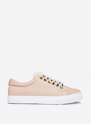 Dorothy Perkins Ilasi Fur Lace Up Sneakers- Nude