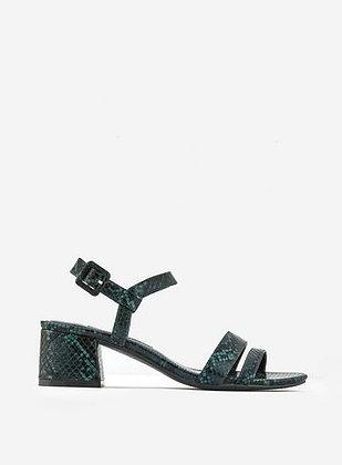 Dorothy Perkins Binkie Snake Print Block Heeled Sandals- Green