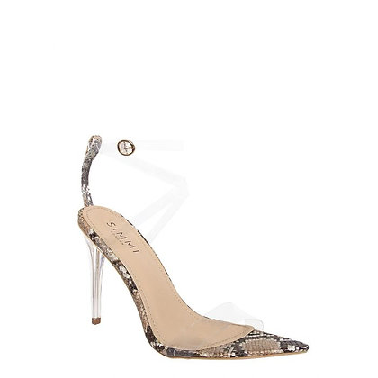 Simmi London Cassie Perspex Snake Skin High Heeled Sandals-