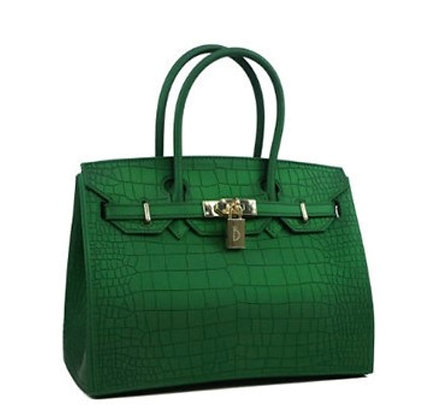 Crocodile Skin Jelly Waterproof Fashion Women's Handbag- Green