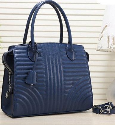 Faux Leather Striped Fashion Women's Handbag- Blue