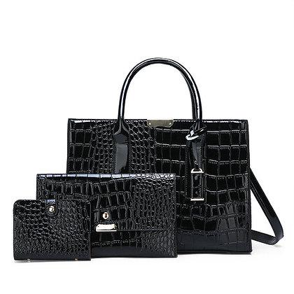 Crocodile Skin 3-in-1 Fashion Women's Handbag- Black