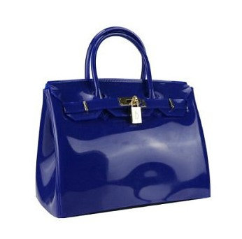 Beachkinsn PVC Top Handle Big Ladies Handbag in Royal Blue
