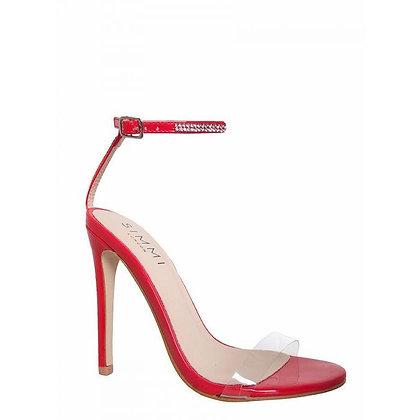 Simmi London Jasmine Perspex Diamante Stiletto Sandals- Red