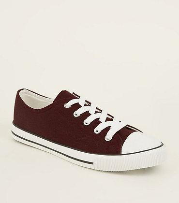 Fashion Stripe Sole Lace Up Women Sneakers- Brown