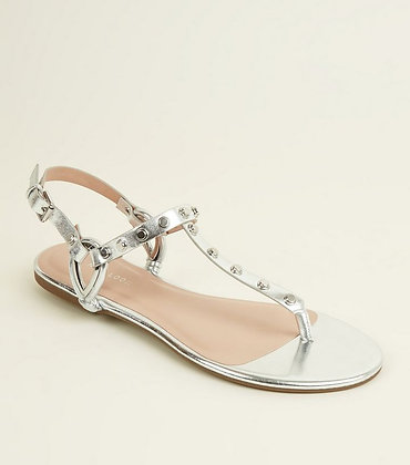 Fashion Silver Studded Ankle Strap Flat Women Sandals