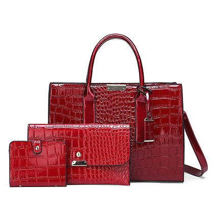 Crocodile Skin 3-in-1 Fashion Women's Handbag- Red