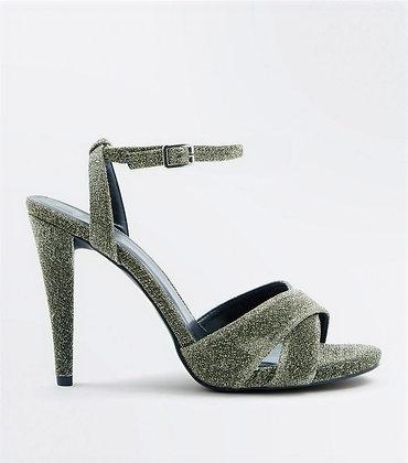 Cross Strap Cone Heeled Stiletto Women Sandals - Dark Silver
