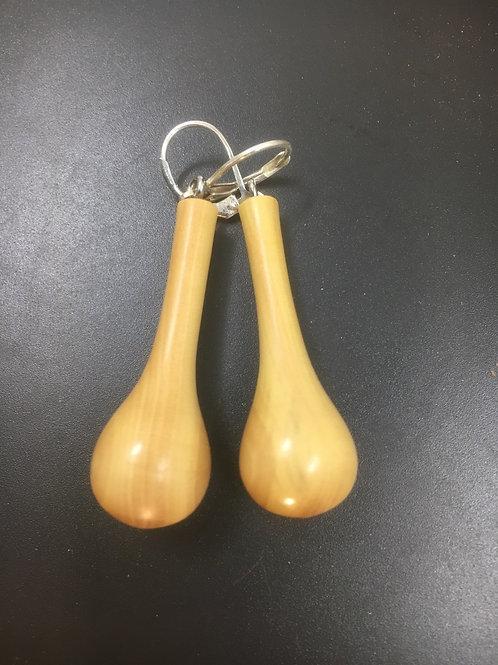 Boucles d'oreilles en bois de buis ø15cm L40mm