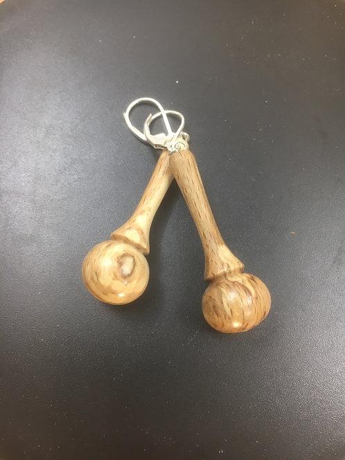 Boucles d'oreilles en bois de hêtre ø15mm L40mm