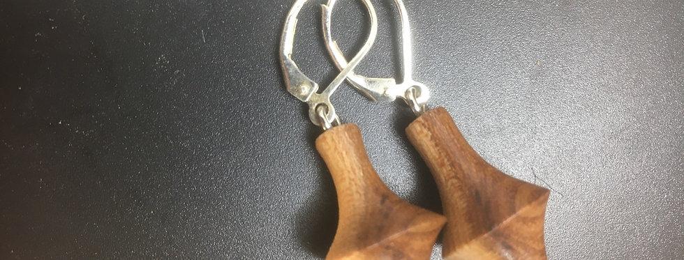 Boucles d'oreilles en bois d'orme ø15mm L30mm