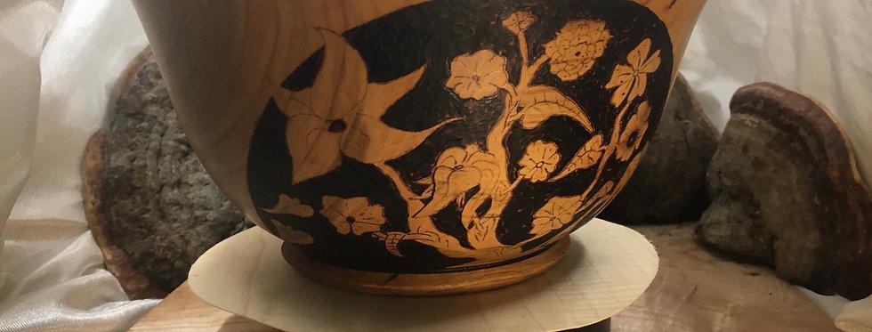 Saladier en bois de merisier ø23 H11cm. Pièce unique