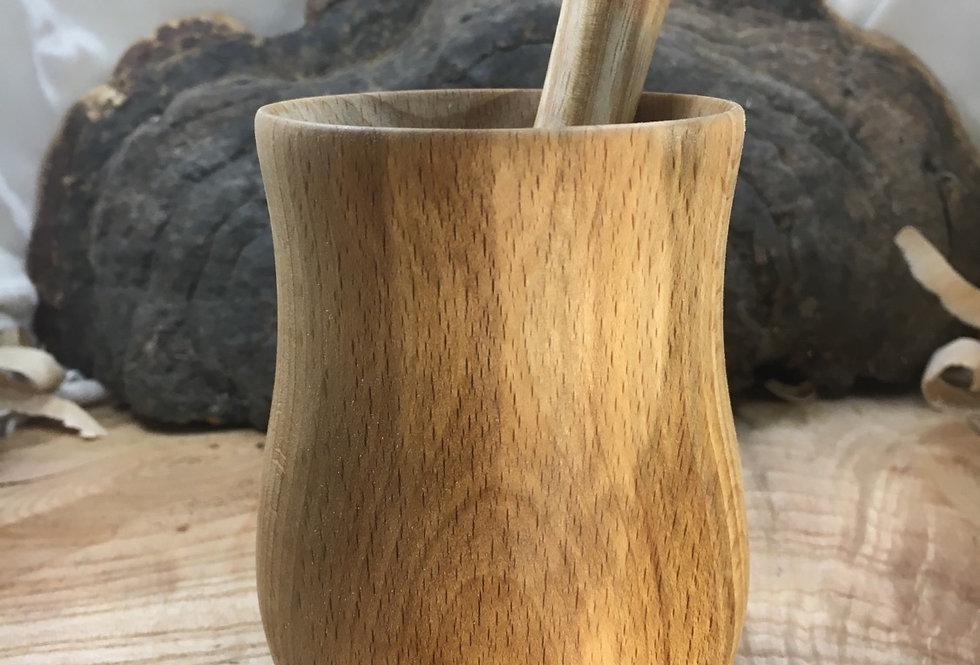 Mortier en bois de hêtre et pilon en bois de frêne ø11cm H9cm