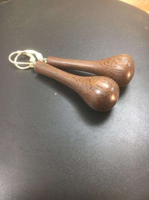 Boucles d'oreilles en bois de noyer ø15mm L40mm