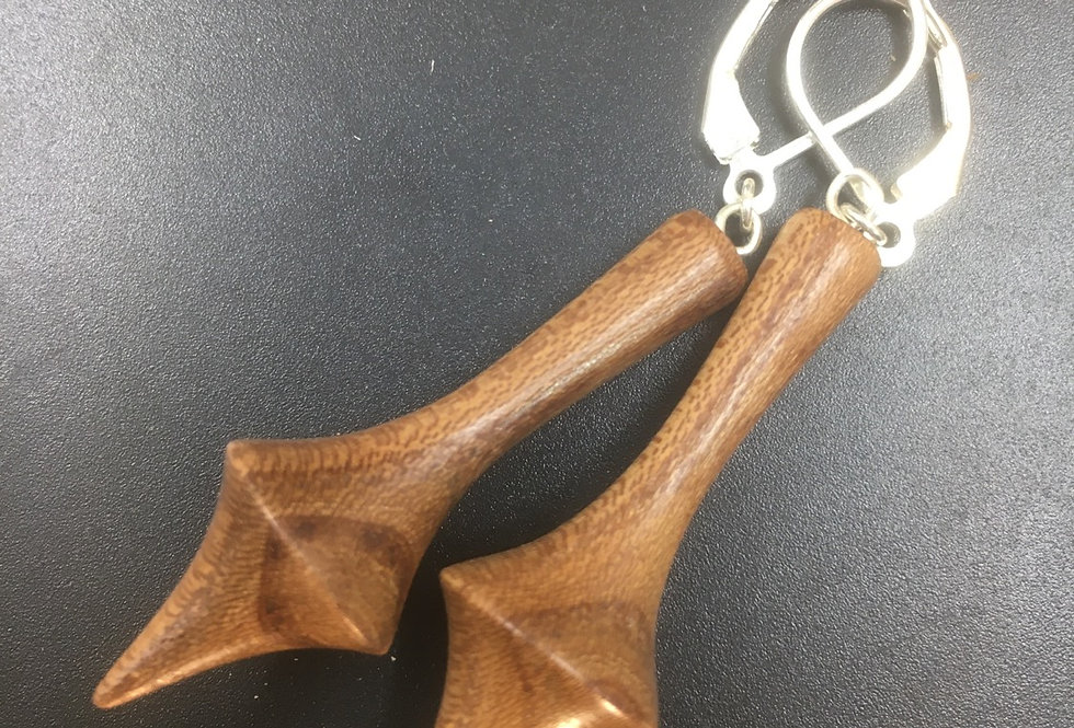 Boucles d'oreilles en bois d'orme ø15mm L40mm