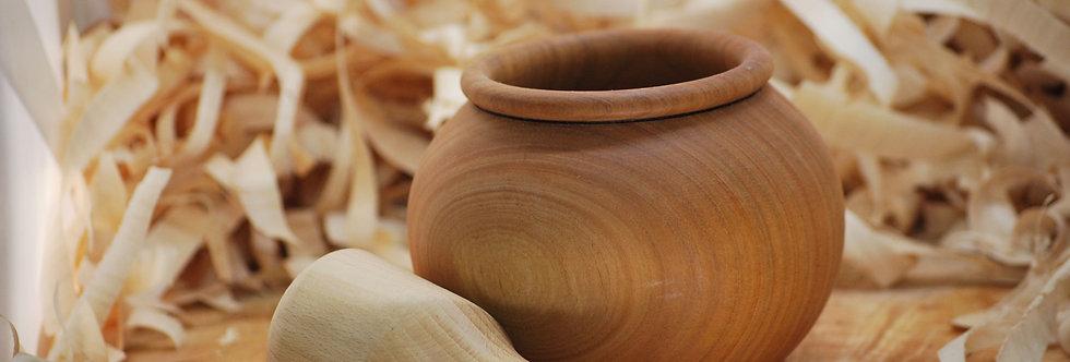 Mortier pilon en bois de cerisier et frêne Ø140 H100 mm