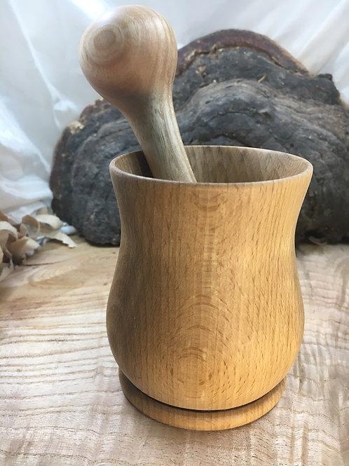 Pilon en bois de frêne ,mortier en bois de hêtre ø10cm H11cm
