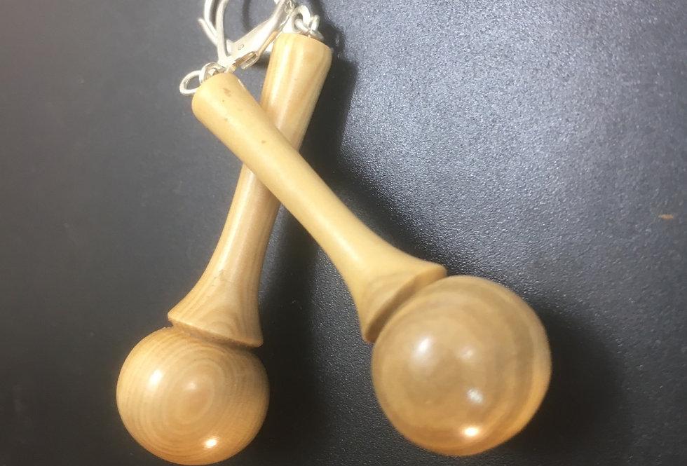 Boucles d'oreilles en bois de buis ø40mm L15mm