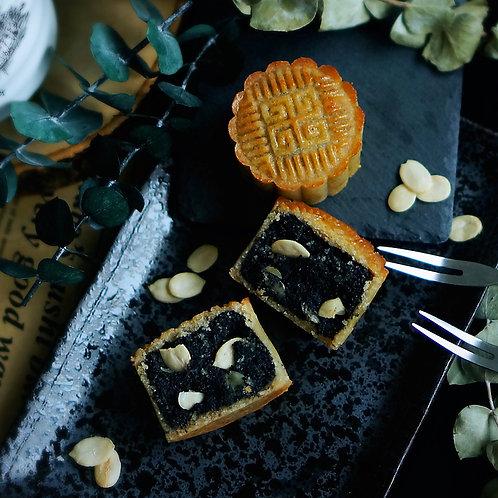 Keto Black Sesame Mooncake with Melon Seeds