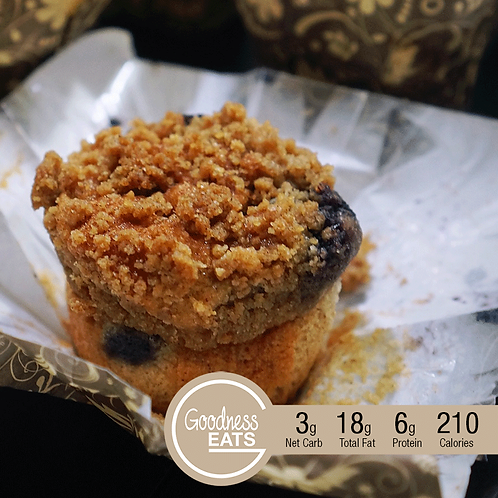 Keto Blueberry Muffin with Almond Streusel Topping