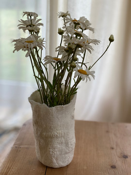 Merino and paper felted vase