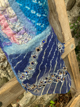 Nuno felted scarf/throw with 'bling'
