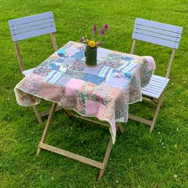 Vintage liberty lawn cotton nuno felted throw / picnic blanket