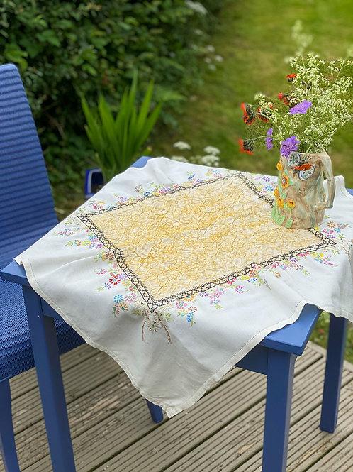 Nuno felted vintage tablecloth