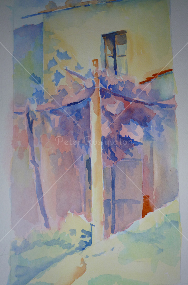 Vine pergola, Tuscany, Watercolour
