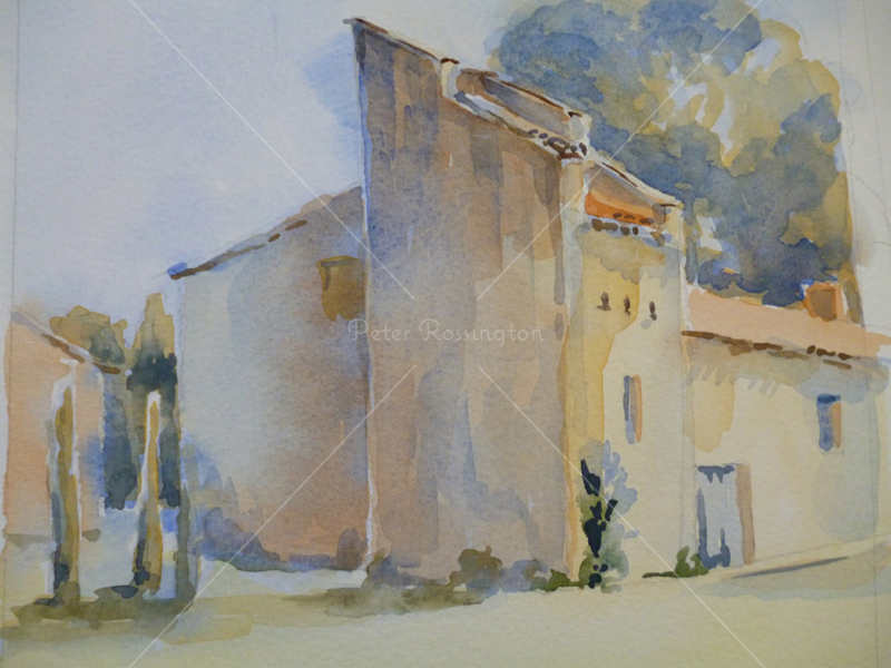 Farm, France, Watercolour