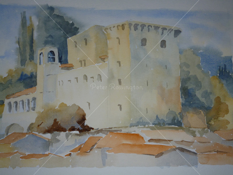 Castle, Tuscany, Watercolour