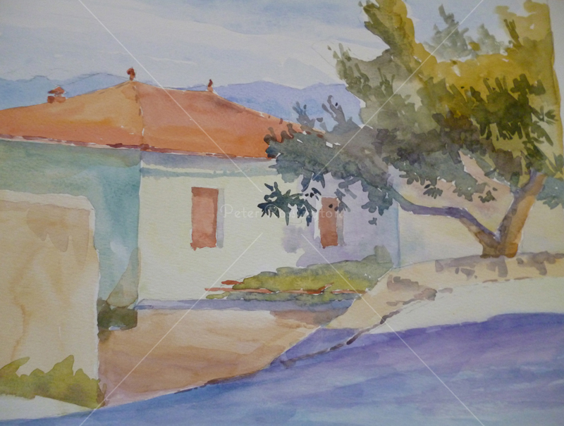 House, Tuscany, Watercolour