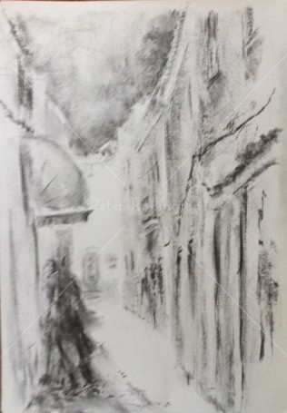 Olhao street, Portugal, Charcoal