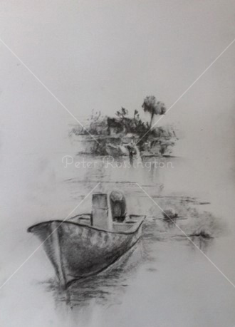 Boat at Fuzeta, Portugal, 	Charcoal