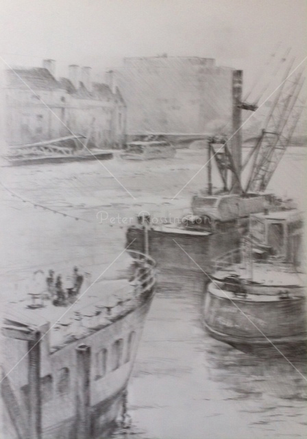 Thames, nr Hungerford Bridge, Pencil