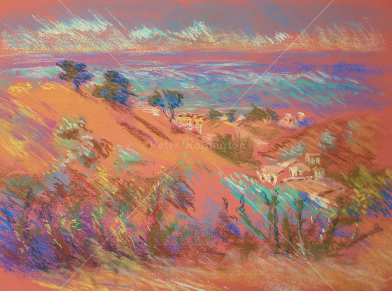 Coastal view, southern Spain,Pastel