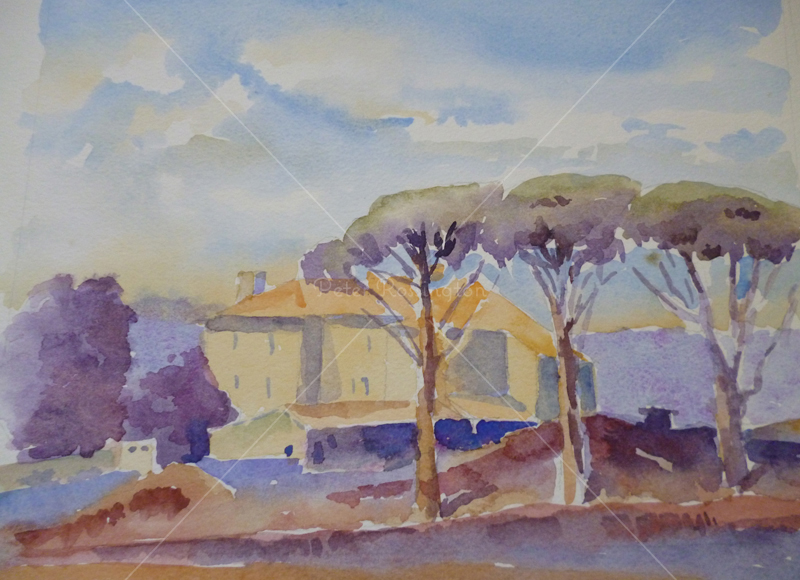 Large House, France, Watercolour
