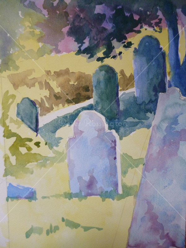 Churchyard, Devon,	Watercolour
