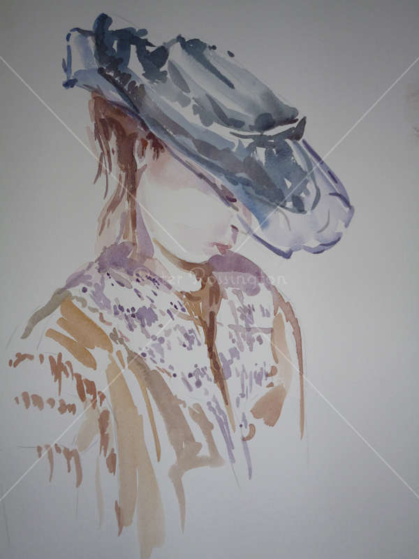 Girl with Hat, Watercolour
