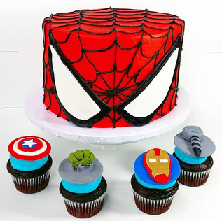 Marvel Super Hero Cake and Cupcakes for