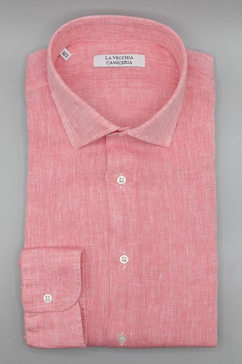 Camicia in Lino colore salmone