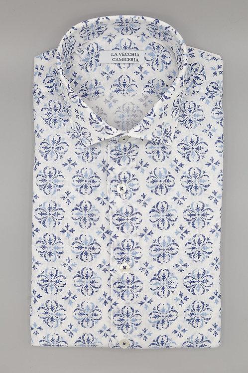 Camicia Cotone Misto Lino Fantasia
